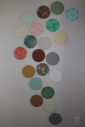 Fabric covered cork board wall pic 3