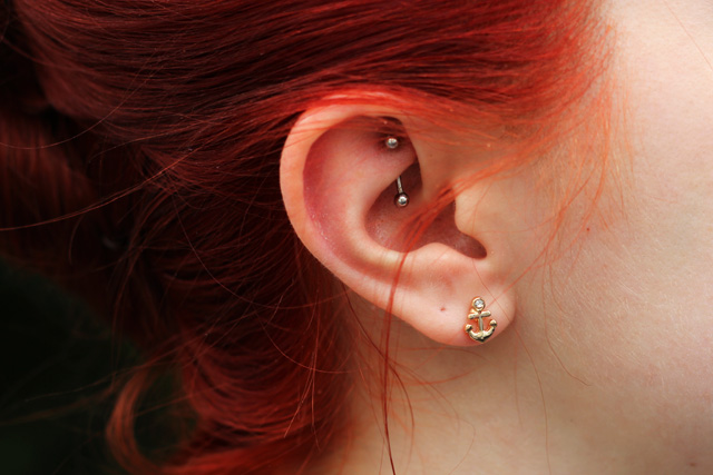 Rook Piercing and Anchor Earrings