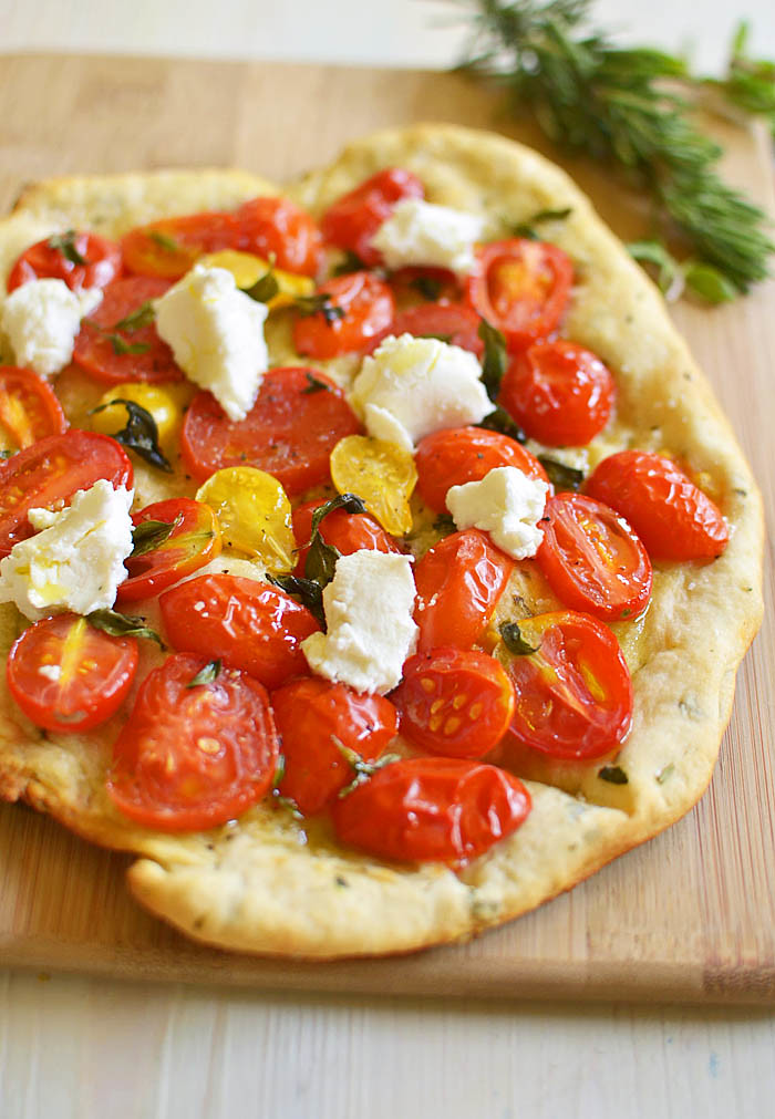 Herbed Tomato and Goat Cheese Flatbread via LittleFerraroKitchen.com