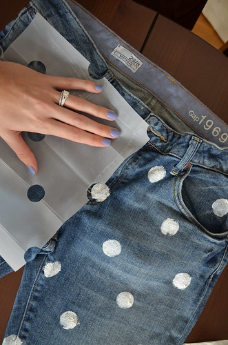 polka dot jeans lining up the template