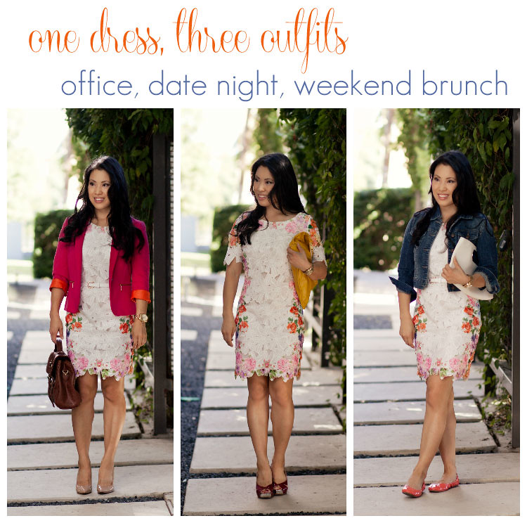 dress remix:  1 dress, 3 outfits -- office, date night, weekend brunch