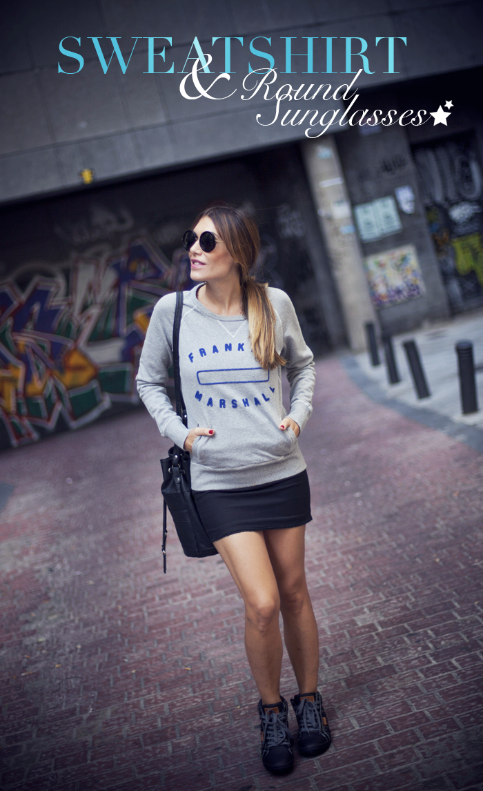 street style franklin marshall sweatshirt round sunglasses lois jeans sneakers outfit fashion blogger