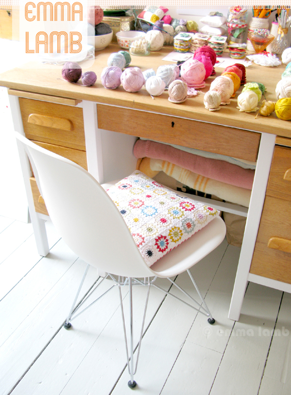 My fabulous new Eames DSR chair at my studio desk, the perfect place for some serious making! | Emma Lamb