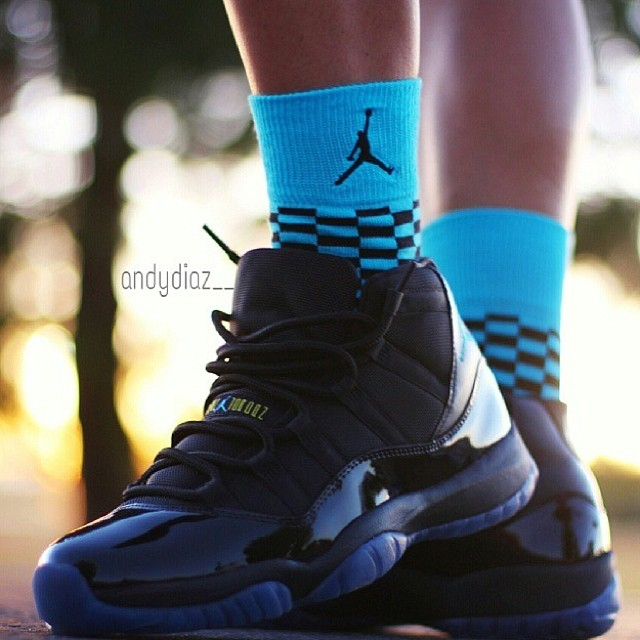 2272905ba4dcde ... Gamma Blue Air Jordan 11 on feet + matching socks from  andydiaz   what  are you
