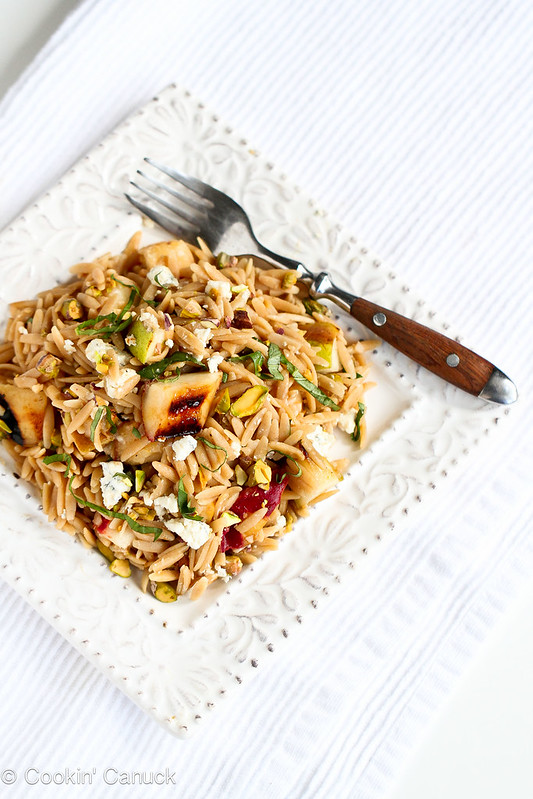 Whole Wheat Orzo with Grilled Pears & Humboldt Fog Cheese Recipe | cookincanuck.com #pasta