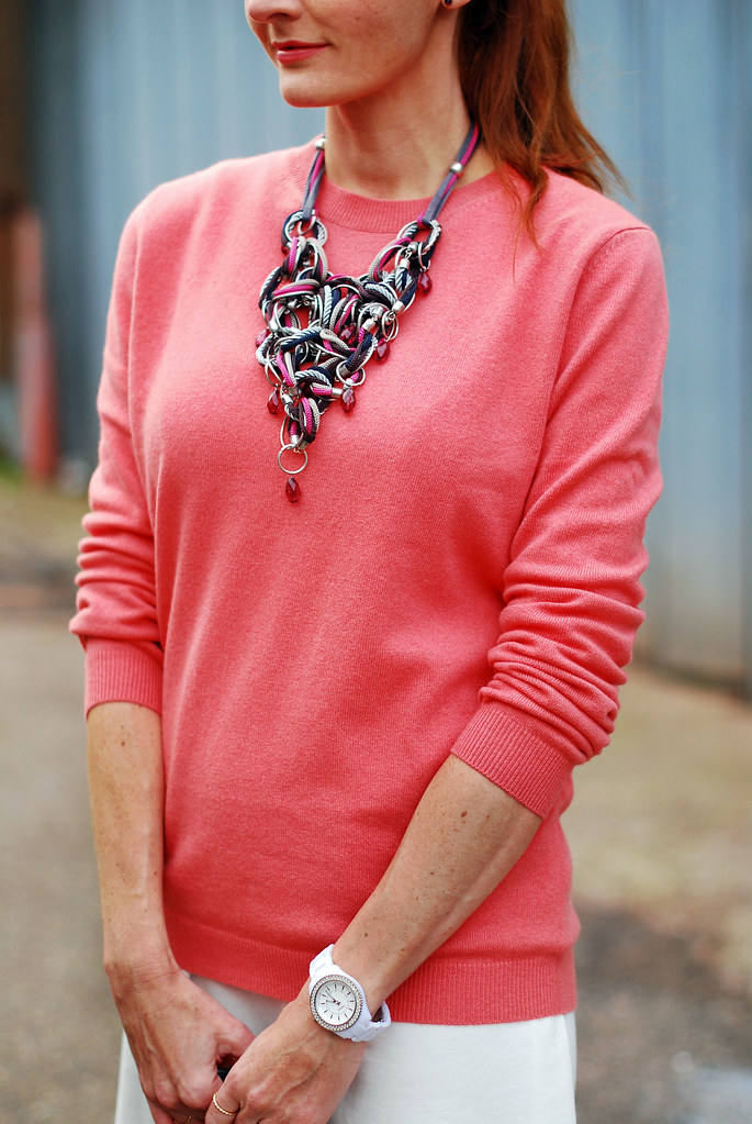 Coral sweater & statement necklace