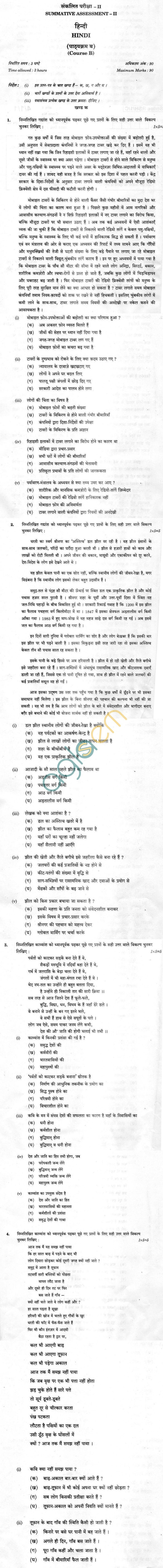 CBSE Board Exam Class 10 SA2 Sample Question Paper – Hindi (Course B)