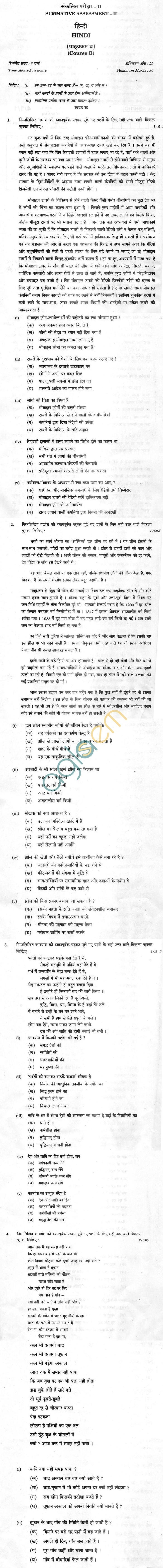 CBSE Board Exam Class 10 SA2 Sample Question Paper –Hindi (Course B)