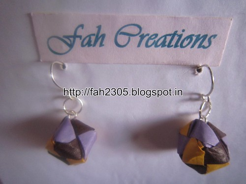 Handmade Jewelry - Origami Paper Qube Earrings (1) by fah2305