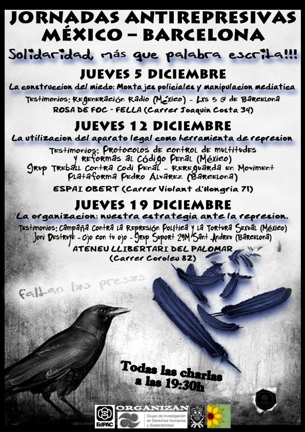 cartell jornades antirepressives mèxic-Barcelona
