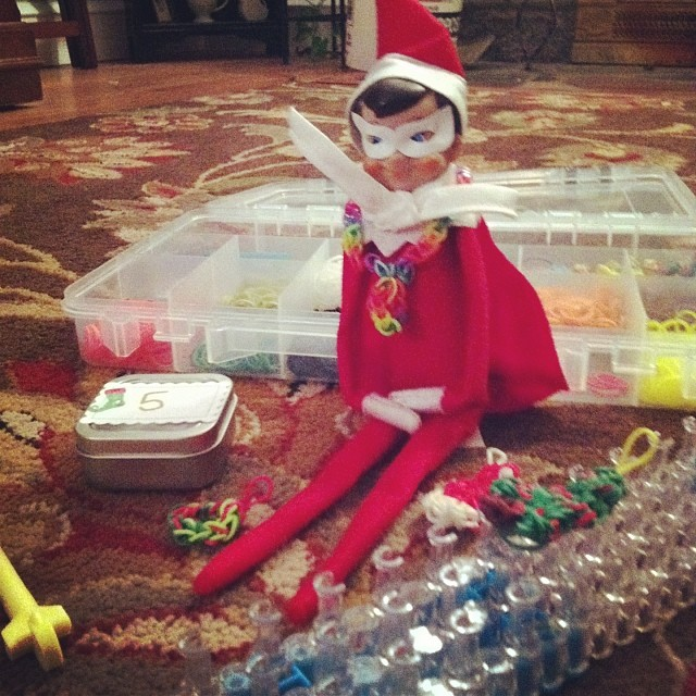 #elftakeover : rainbow looming Elf #holiday2013daily Elf on the Shelf