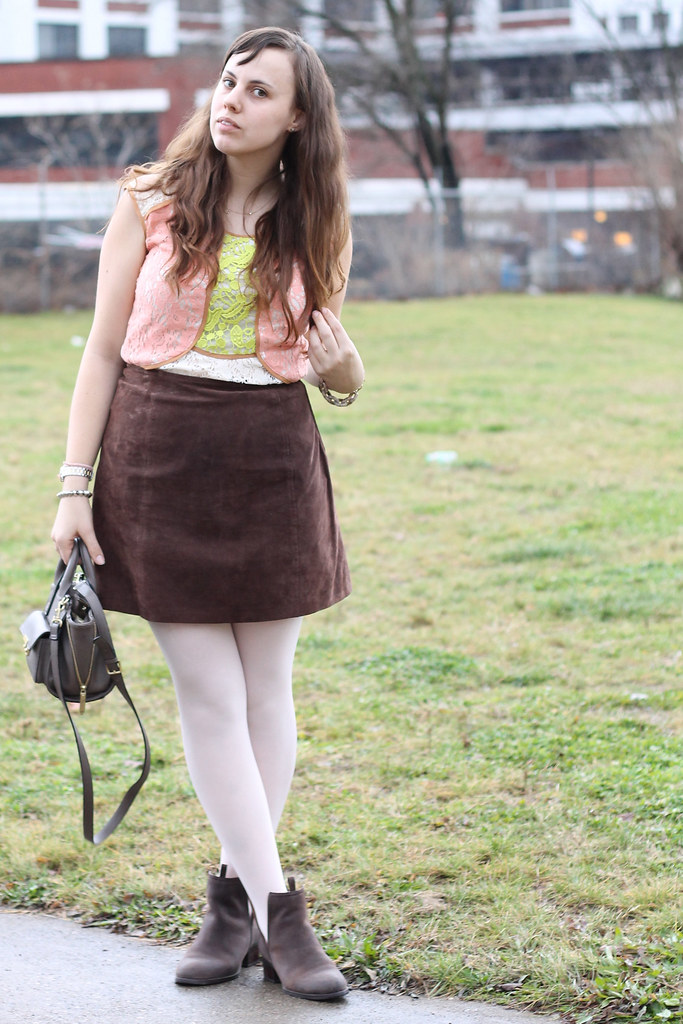 "Sugar Plum Fairy outfit: pink ballet tights, Jeffry Campbell for Free People ""Cast & Crew ankle boots"", vintage suede mini skirt, lace Anthropologie blouse, Phillip Lim for Target crossbody bag, Anthropologie horseshoe ""Lucky Icon"" necklace"