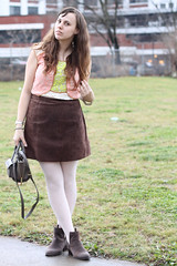 """Sugar Plum Fairy outfit: pink ballet tights, Jeffry Campbell for Free People """"Cast & Crew ankle boots"""", vintage suede mini skirt, lace Anthropologie blouse, Phillip Lim for Target crossbody bag, Anthropologie horseshoe """"Lucky Icon"""" necklace"""