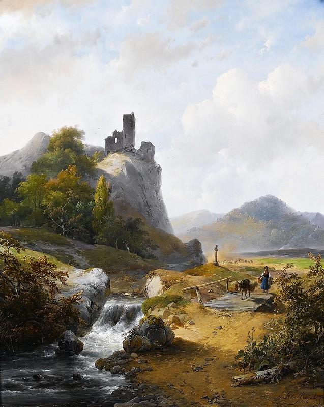 Andreas Schelfhout - Duits landschap met ruïne (c.1844)