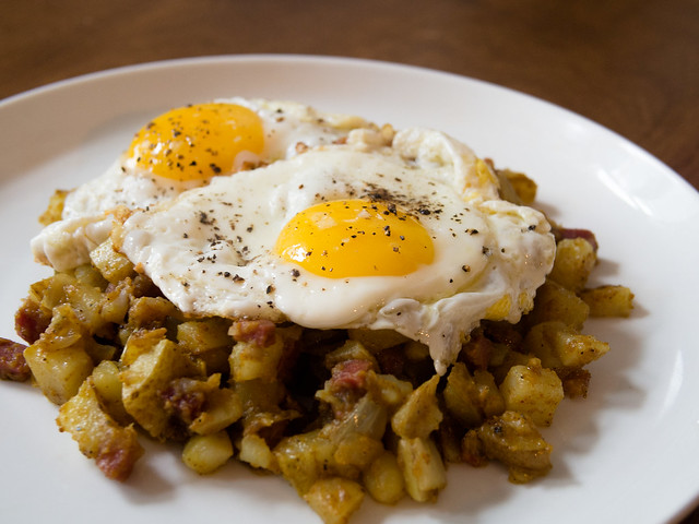 Curry Potato Hash and Fried Eggs potatoes Potato eggs Egg December Curry