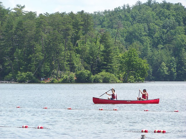 A canoe or paddle boat ride is a fune way to exercise.