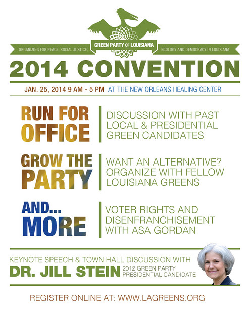 Green Party of Louisiana Convention 2014 Flyer
