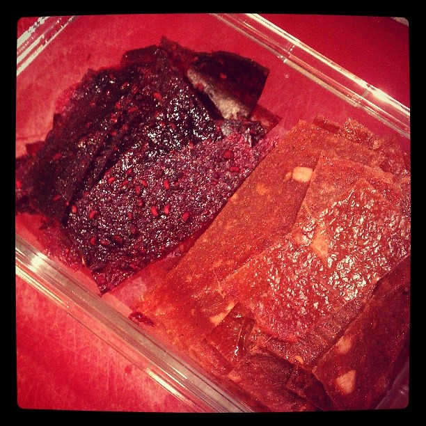Squares of homemade fruit leather: mixed berry and apple mango. #vegan #allergyfree