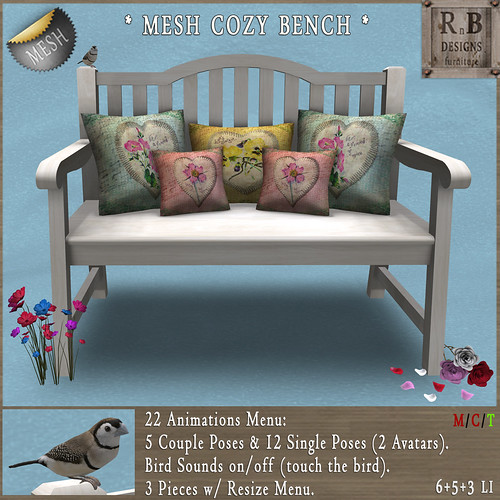 NEW ON SALE ! *RnB* Mesh Cozy Bench 1-6 (Couple & Singles, Bird Sounds)