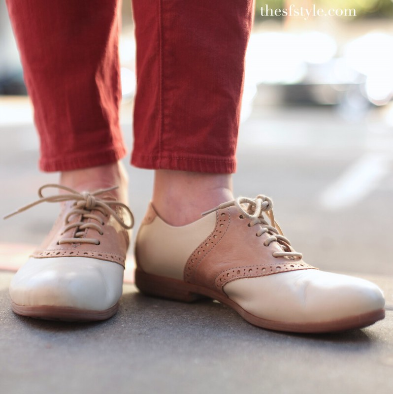 saddle shoes, bright colors, san francisco street style fashion blog,