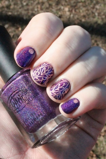 Purple with Copper Leaves Nails