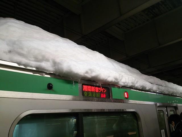 雪を積んだ湘南新宿ラインが到着。
