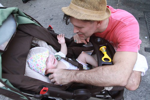 Lulu\'s first stroller (not in a baby seat)