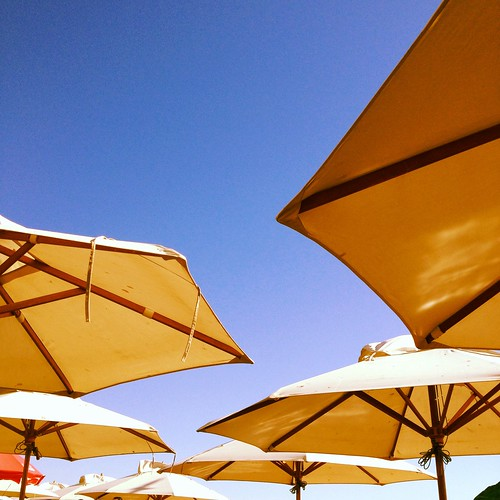 Blue skies and parasols