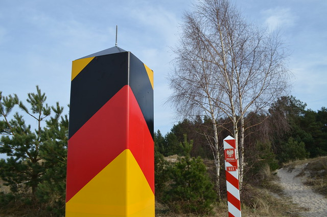 Border posts of Ahlbeck Germany and Świnoujście, Poland