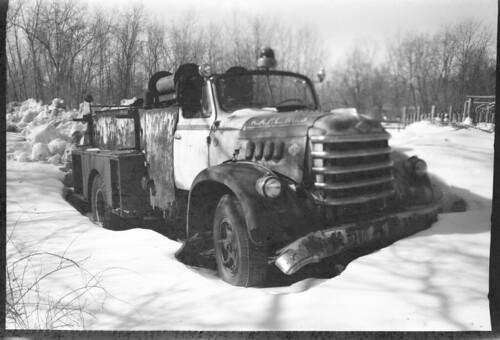 Firetruck in snowbank
