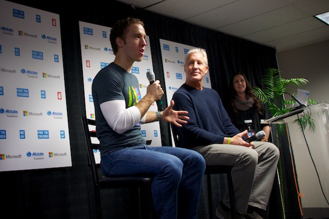 Craig Kielburger and Coach Carroll at We Day Seattle