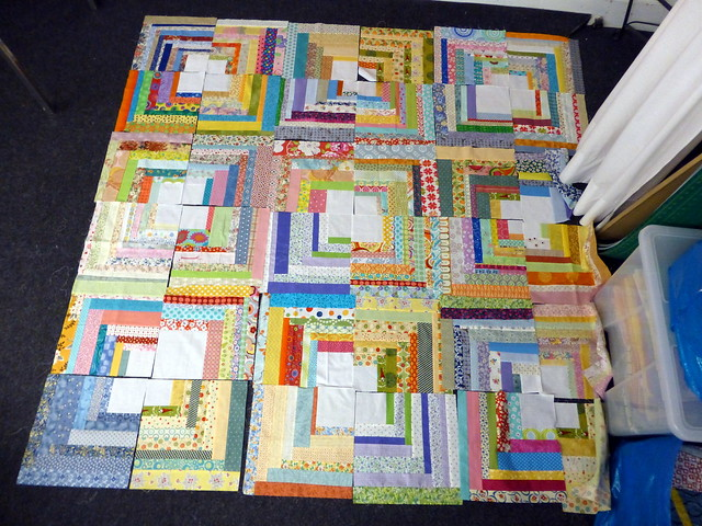 Bee Blessed Quarter Log Cabin blocks