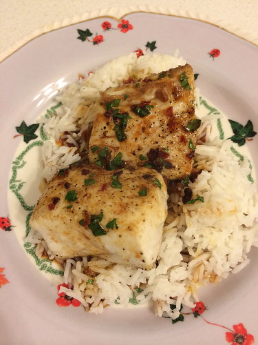 Seared Mahi Mahi with  Rice and Singa Sauce