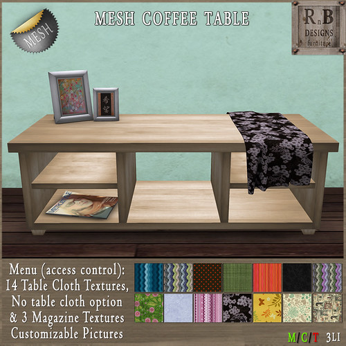 NEW ON SALE ! *RnB* Mesh Dakota Coffee Table Birch - 14 Table Cloths (c)