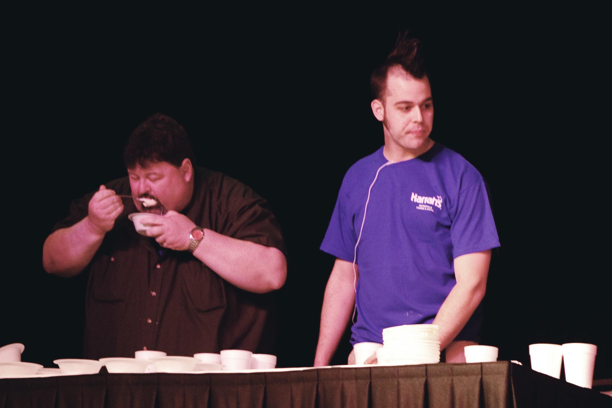 Pat Bertoletti at the Ice Cream Eating Contest at Harrah's Casino in Metropolis, Illinois.