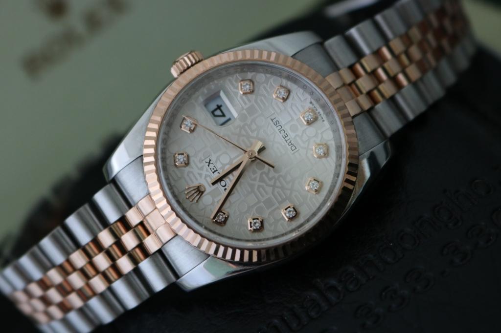 Đồng hồ rolex datejust 6 số 116231 – Đè mi vàng hồng 18k – mặt vi tính xoàn – size 36