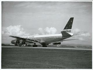 Air New Zealand D.C.8. at Mangere International Airport, Auckland.