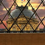The Louvre  Paris France  ~   I.M. Pei`s glass pyramid in 1989