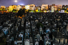 Recoleta cemetery panorama view by night