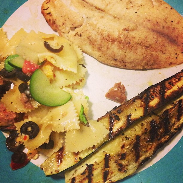 Plank grilled tilapia, grilled zucchini, and pasta salad. #whatsfordinner #tasteslikesummer