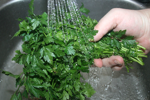 19 - Petersilie waschen / Wash parsley