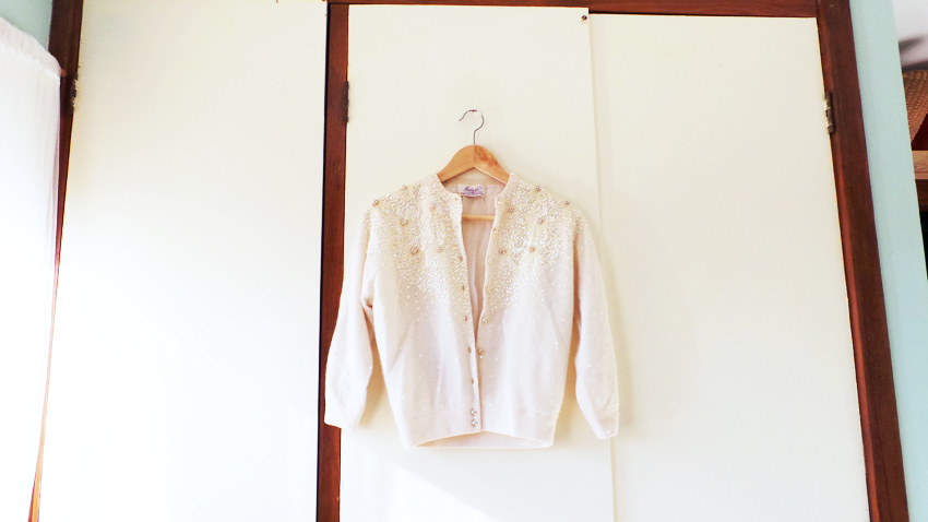 cream bead + sequin vintage cardigan a