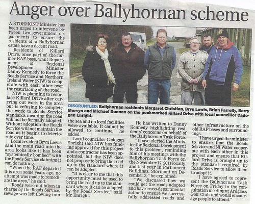 10th April 2013 Anger in Ballyhornan NIwater mismanagement of Schemes by CadoganEnright