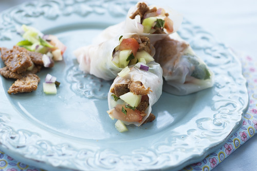 pork tomato salsa and minted cucumber rice wrap rolls