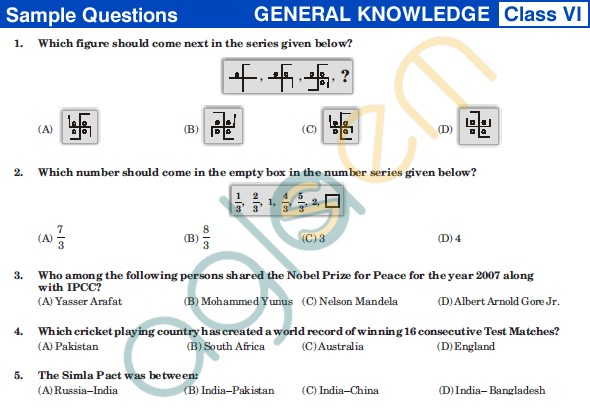UCO 2013 Sample Papers for Class VI - GK