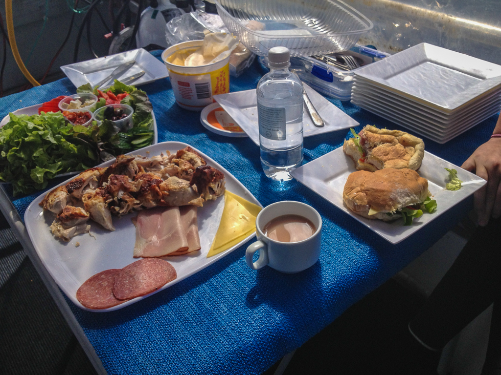 food on a diving excursion