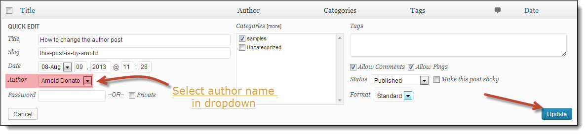 how to change the author name in wordpress