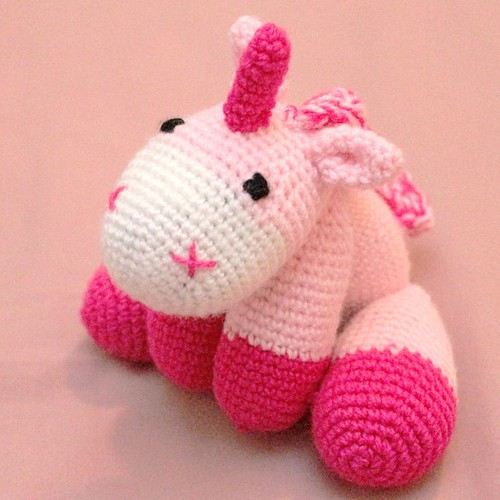 A #pink #crochet #unicorn