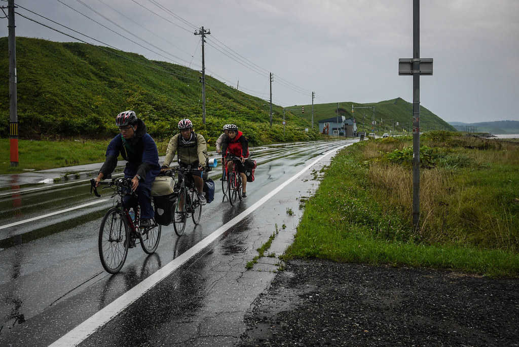 Saw lots of groups of university cycling club members battling it out for 150km days (near Cape Soya, Hokkaido, Japan)