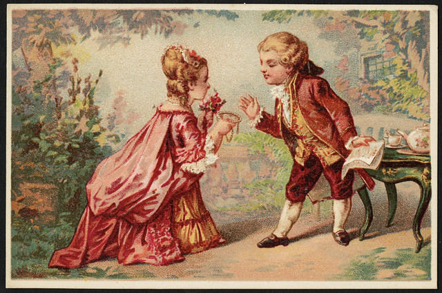 Man and woman dressed in French Baroque style, woman holding flowers, man holding papers. [front]